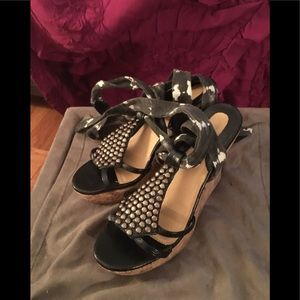 Colin Stuart leather& cork wedge sandals w/ studs